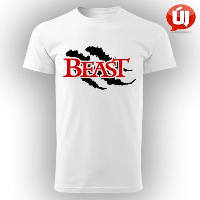 56168adb84 Beauty and Beast férfi kereknyakú pamut póló - Fehér